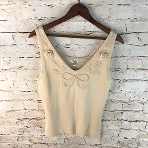 Cache Cropped Bow Tank Top